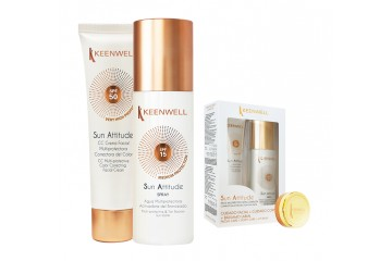 Набор солнцезащитных средств Keenwell Sun set - CC cream SPF50 + multi-protective & tan booster sun water SPF15